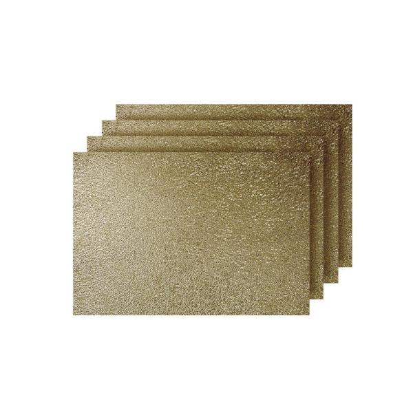 Dainty Home Lacey Gold Metallic Scribble Design Rectangle Placemats (Set of