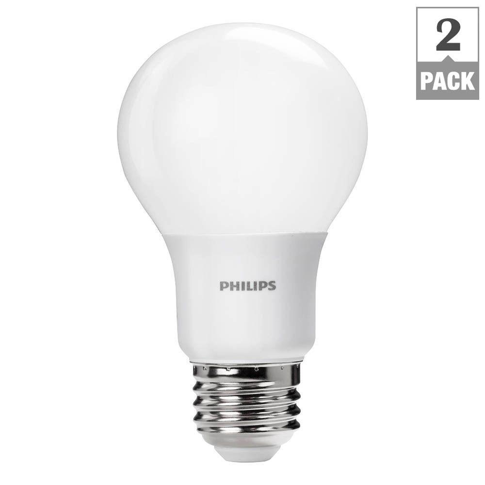 Philips 60W Equivalent Soft White A19 Dimmable LED Household Light Bulb (2-Pack)