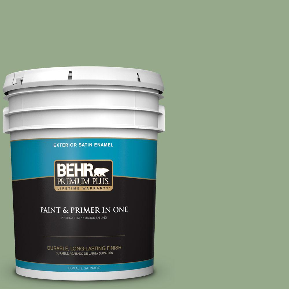 5 gal. #PPU11-05 Pesto Green Satin Enamel Exterior Paint