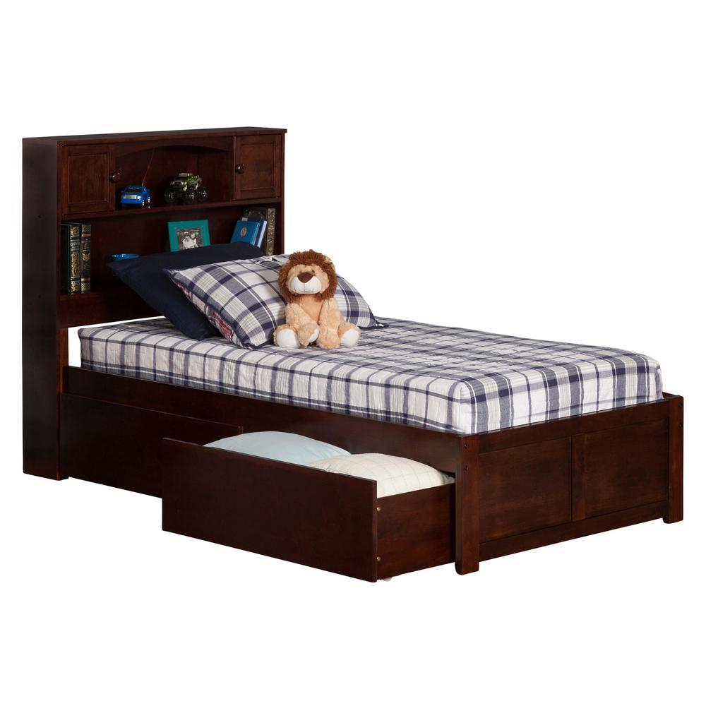 Atlantic Furniture Newport Walnut Twin Platform Bed with Flat Panel Foot