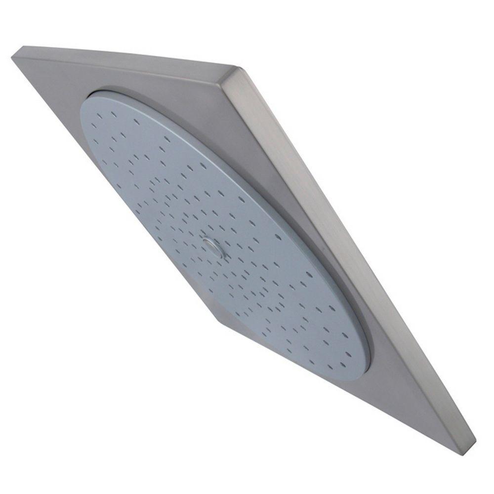 1-Spray 9.9 in. Single Wall Mount Fixed Rain Shower Head in Brushed Nickel