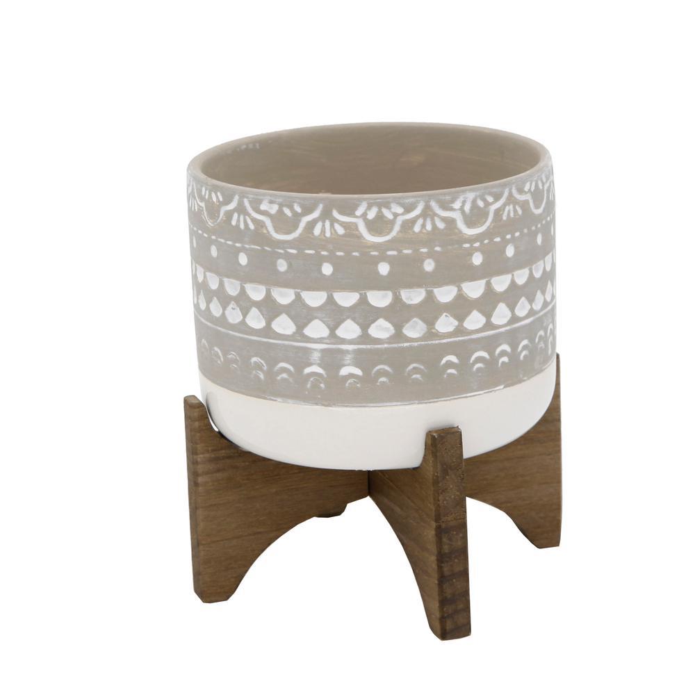 Flora Bunda 5 in. White Mayan Ceramic Pot with 2-Tone ...
