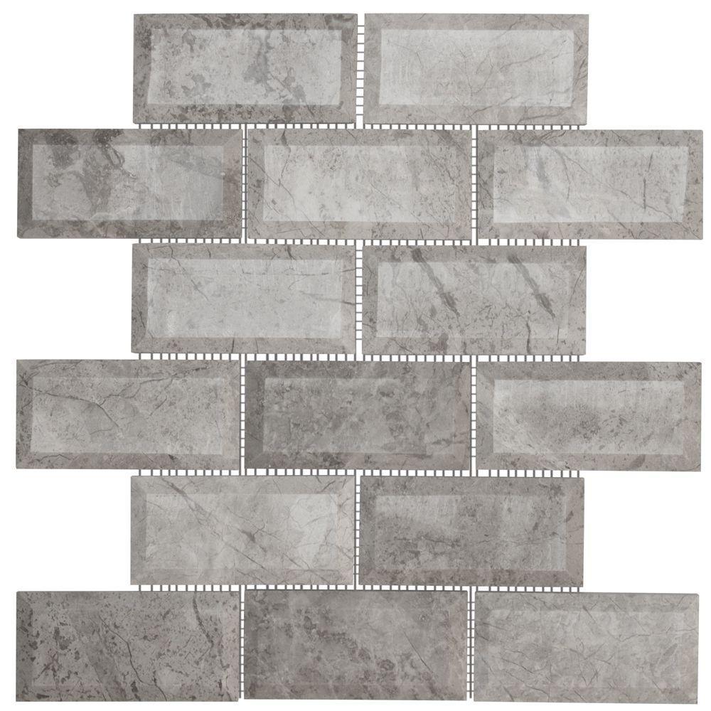 Tundra Grey 2 x 4 Beveled 10 in. x 11.875 in. x 10 mm Interlocking Polished Marble Mosaic Tile