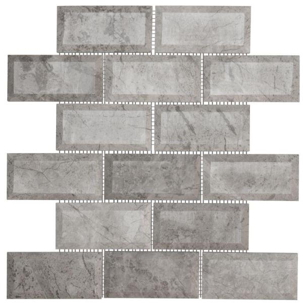 Tundra Grey 2 x 4 Beveled 10 in. x 11.875 in. x 10 mm Interlocking Polished Marble Mosaic Tile