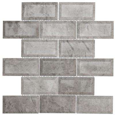 Tundra Grey 2 x 4 Beveled 10 in. x 11.875 in. x 10 mm Marble Mosaic Wall Tile
