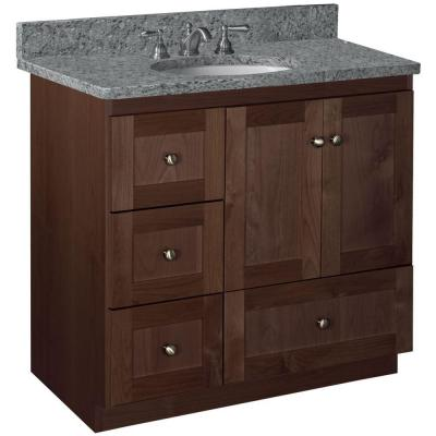 Shaker 36 in. W x 21 in D x 34.5 in. H Vanity with Left Drawers Cabinet Only in Dark Alder