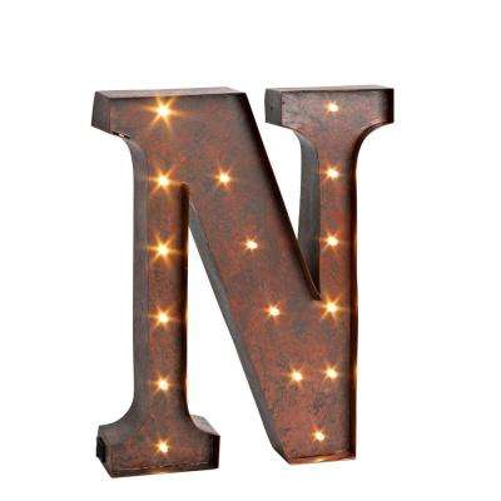 "12 in. H ""N"" Rustic Brown Metal LED Lighted Letter"