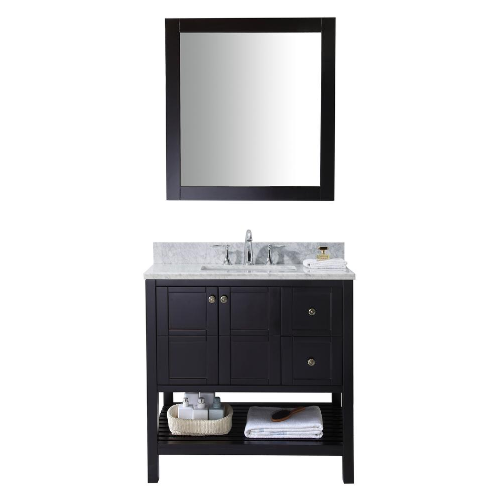 Virtu USA Winterfell 36 in. Vanity in Espresso with Marbl...