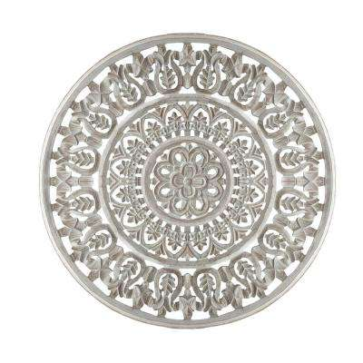 Washed White Round Shape Panel with Ornate Carvings Wooden Wall