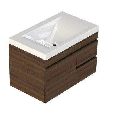 Viteli + Siena 31 in. W x 19 in. D Vanity in Walnut with Cultured Marble Vanity Top in White with White Basin