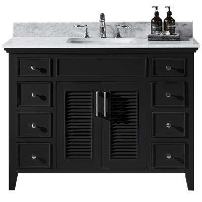 Elise 48 in. W x 22 in. D x 34.21 in. H Bath Vanity in Espresso with Marble Vanity Top in White with White Basin