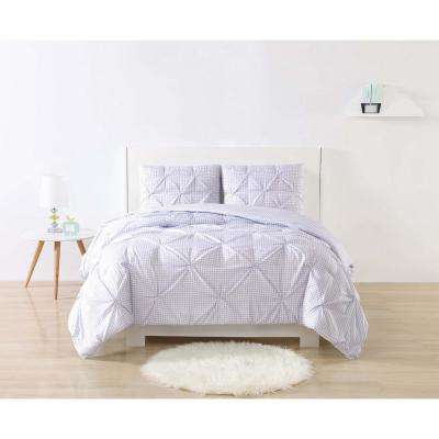 Anytime Gingham Pinch Pleat Purple Queen Duvet Set