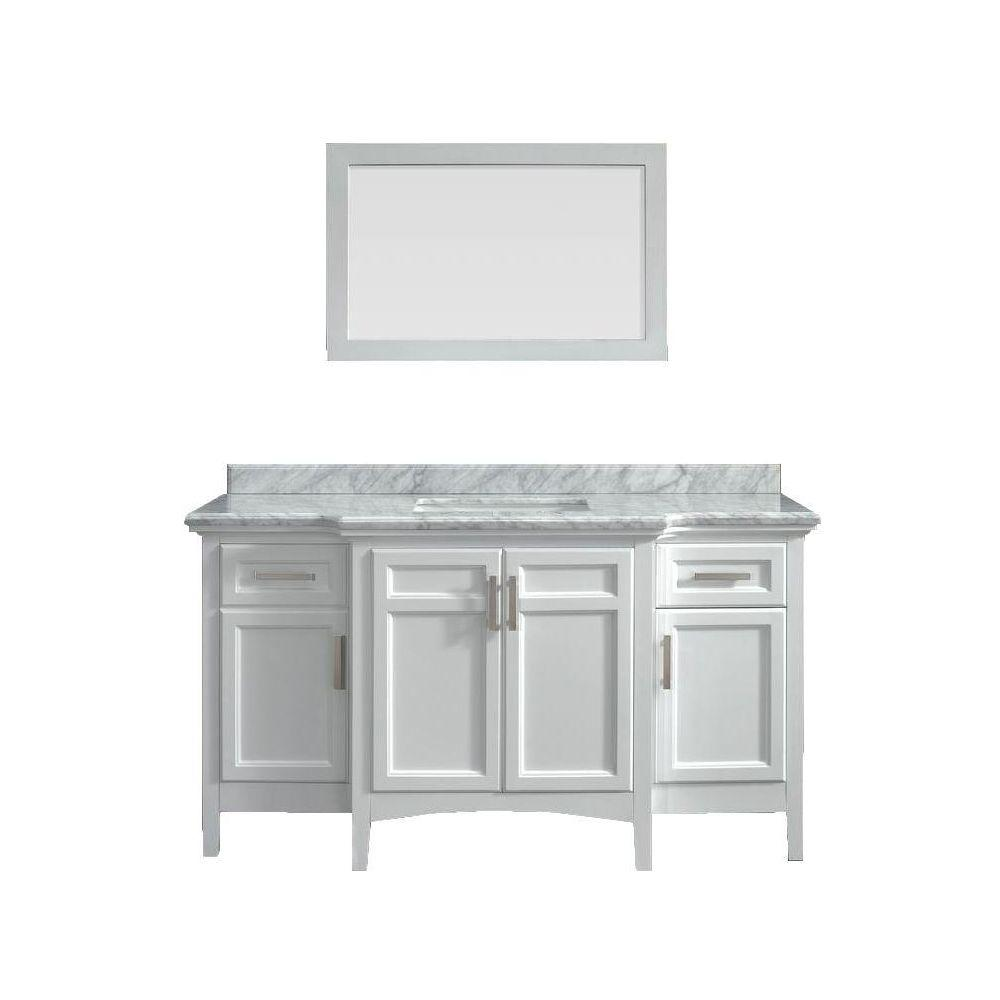 Sassy 60 In Vanity In White With Marble Vanity Top In