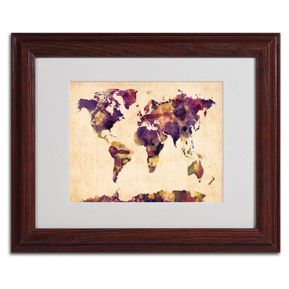 Trademark Fine Art 11 in. x 14 in. Watercolor Map 2 Matted Framed Art