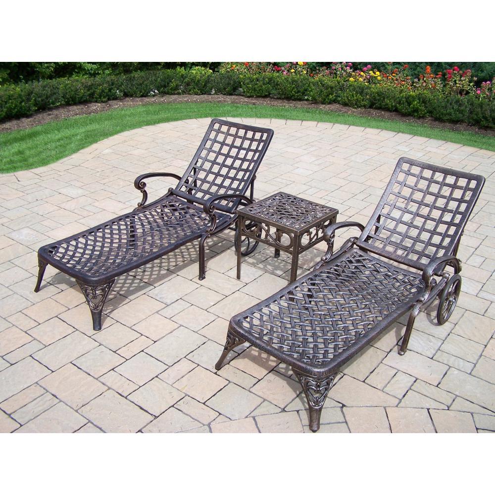 Elite 3-Piece Aluminum Outdoor Chaise Lounge Set by