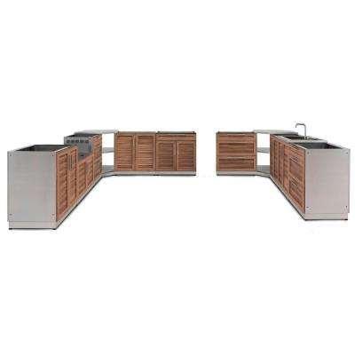 Natural Cherry 11-Piece 184.75 in. W x 36.5 in. H x 129.38 in. D Outdoor Kitchen Cabinet Set
