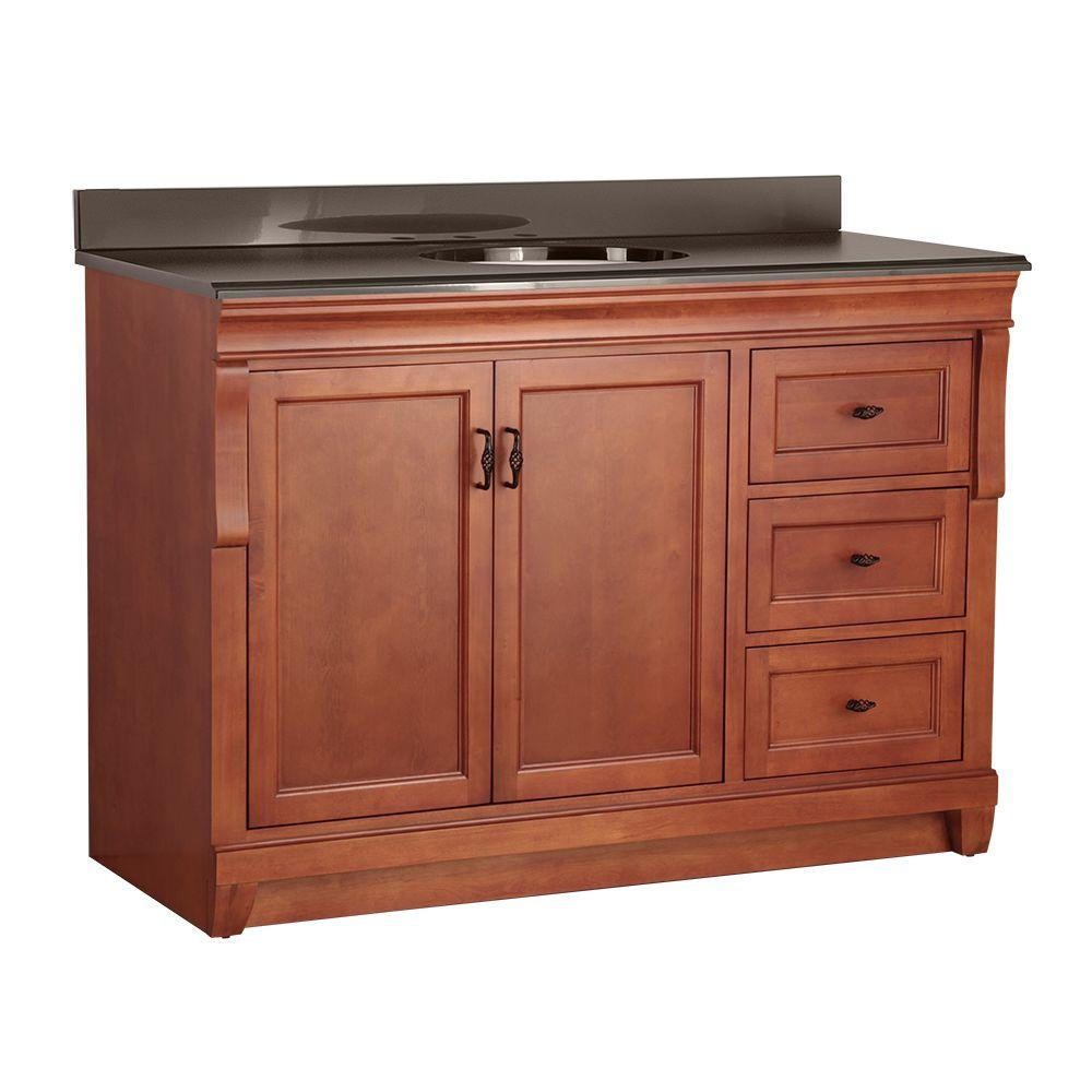 Home Decorators Collection Naples 49 in. W x 22 in. D Vanity in Warm Cinnamon with Colorpoint Vanity Top in Black