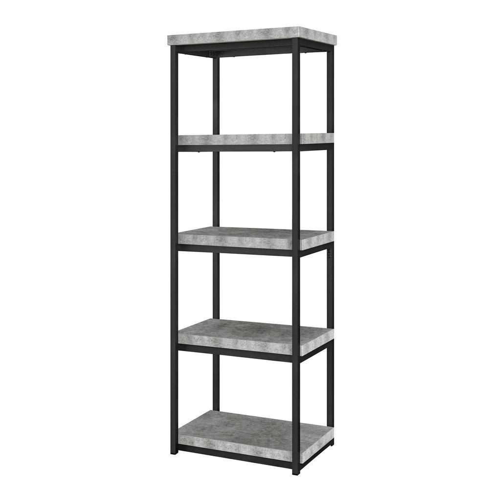Yellowstone Concrete Gray 4-Shelf Open Bookcase