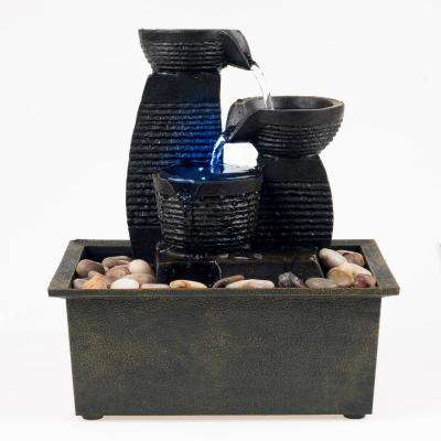 9 in. LED Triple Jug Tabletop Fountain