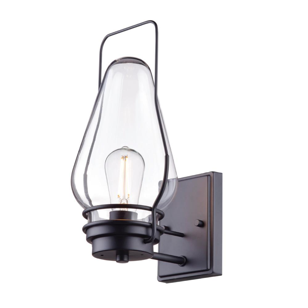 Globe Electric Covington 1-Light Black Outdoor Wall Lantern Sconce