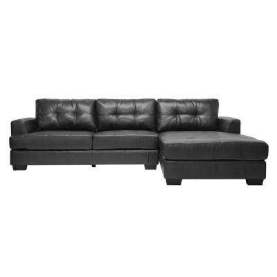 Dobson Contemporary Black Bonded Leather Upholstered Sectional Sofa