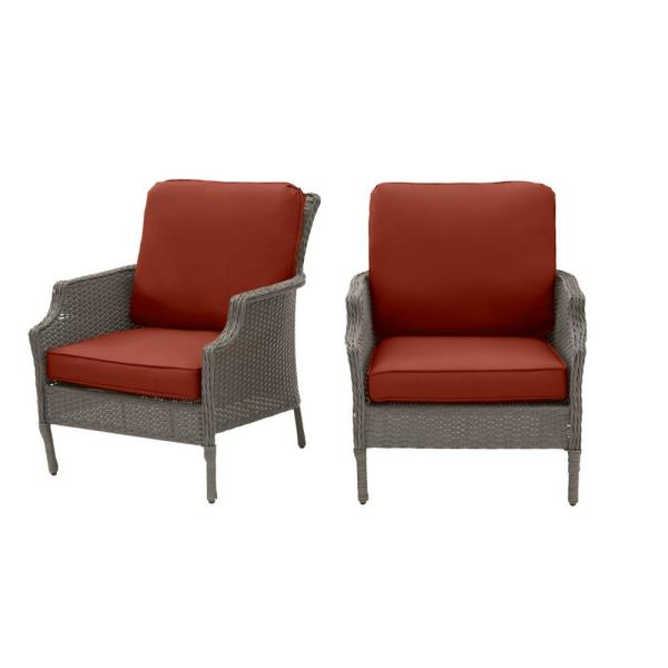 Grayson Ash Gray Wicker Outdoor Patio Lounge with Sunbrella Henna Red Cushions (2-Pack)