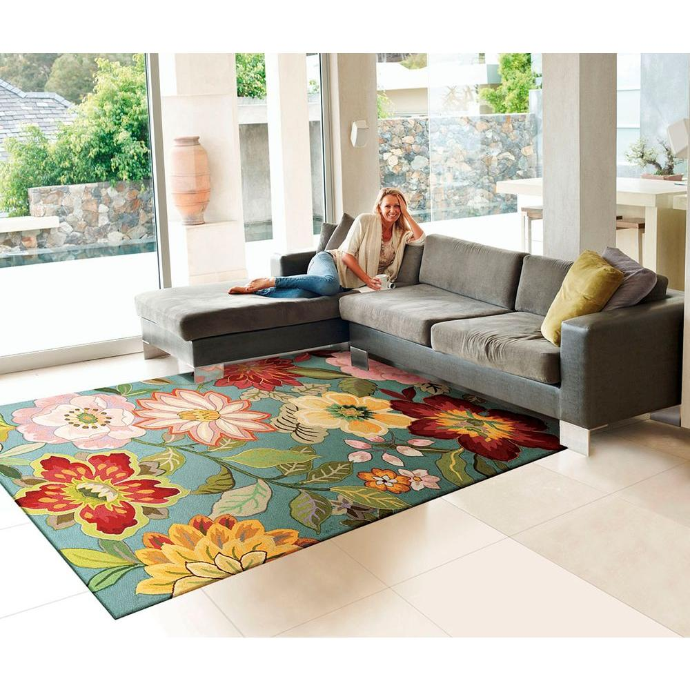 Floral Rugs For Living Room.Nourison Spring Blossom Aqua 2 Ft X 8 Ft Runner Rug