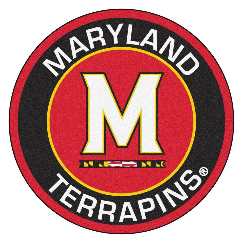 NCAA University of Maryland Black 2 ft. x 2 ft. Round Area Rug