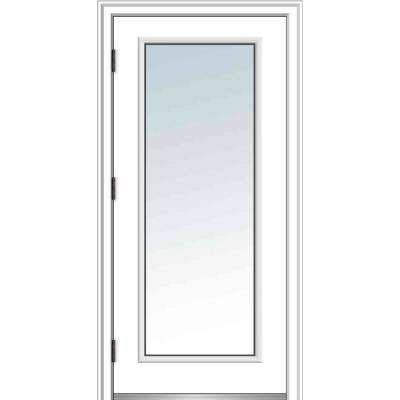 30 in. x 80 in. Classic Right-Hand Outswing Full Lite Clear Low-E Primed Steel Prehung Front Door with Brickmould