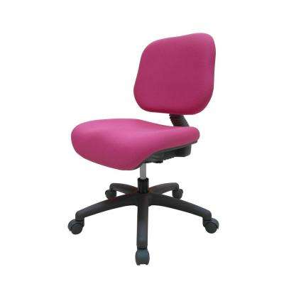 Pink Fabric Adjustable Office Chair