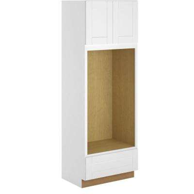 Princeton Shaker Assembled 33x96x24 in. Pantry/Utility Double Oven Cabinet in Warm White