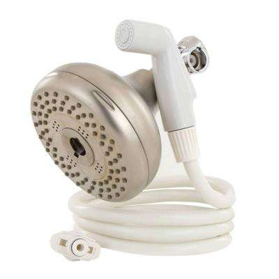 Tahoe 84-Spray Dual Showerhead and Handheld Showerhead with 2 Setting Sprayer in Satin Nickel with White