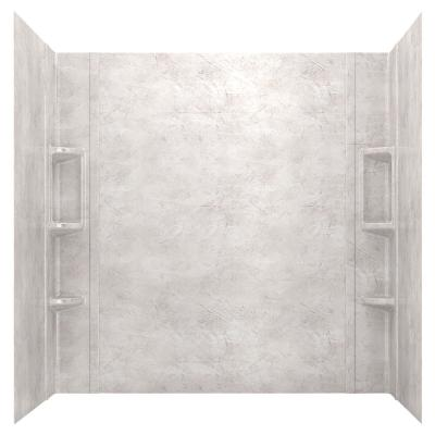 Ovation 32 in. x 60 in. x 59 in. 5-Piece Glue-Up Alcove Bath Wall Set in Beige Parchment