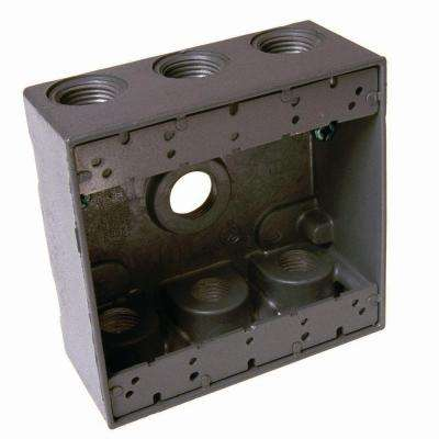 2-Gang Weatherproof Gray Box with Seven 3/4 in. Threaded Outlets