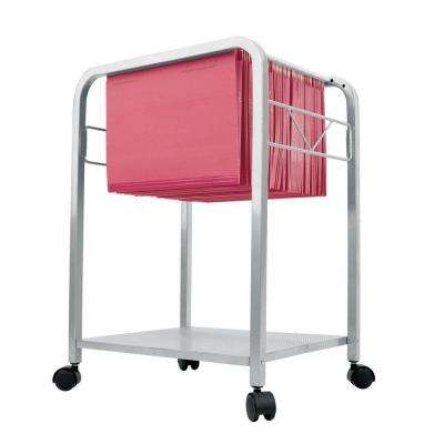 Catherine Steel File Cart on Casters in Silver