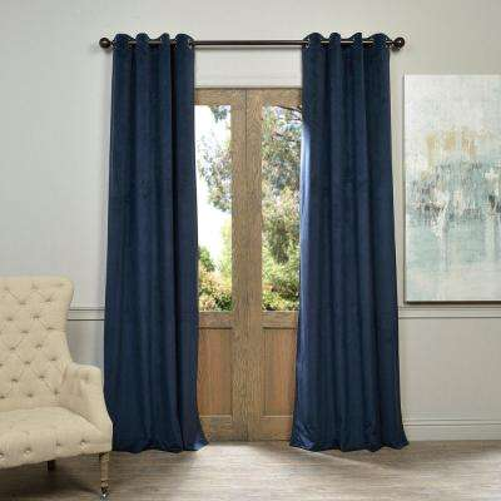 Blackout Signature Midnight Blue Grommet Blackout Velvet Curtain - 50 in. W x 120 in. L (1 Panel)