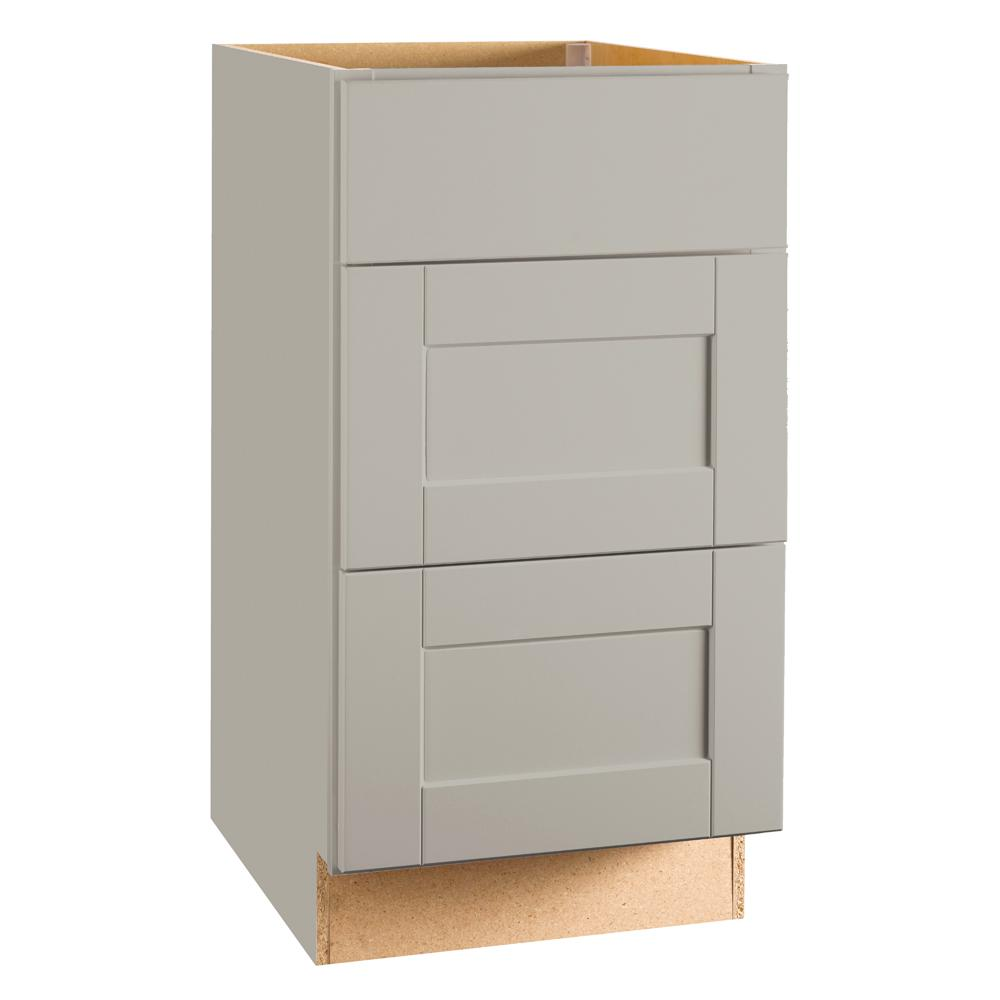 Hampton Bay Shaker Assembled 18x34.5x24 in. Drawer Base Kitchen Cabinet with Ball-Bearing Drawer Glides in Dove Gray