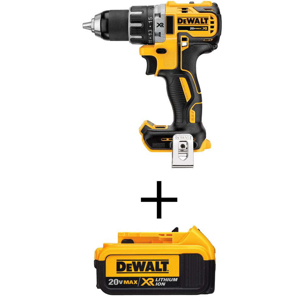 DEWALT 1/2 in. 20-Volt MAX XR Lithium-Ion Brushless Cordless Compact Drill/Driver with Free Premium Battery Pack 4.0 Ah