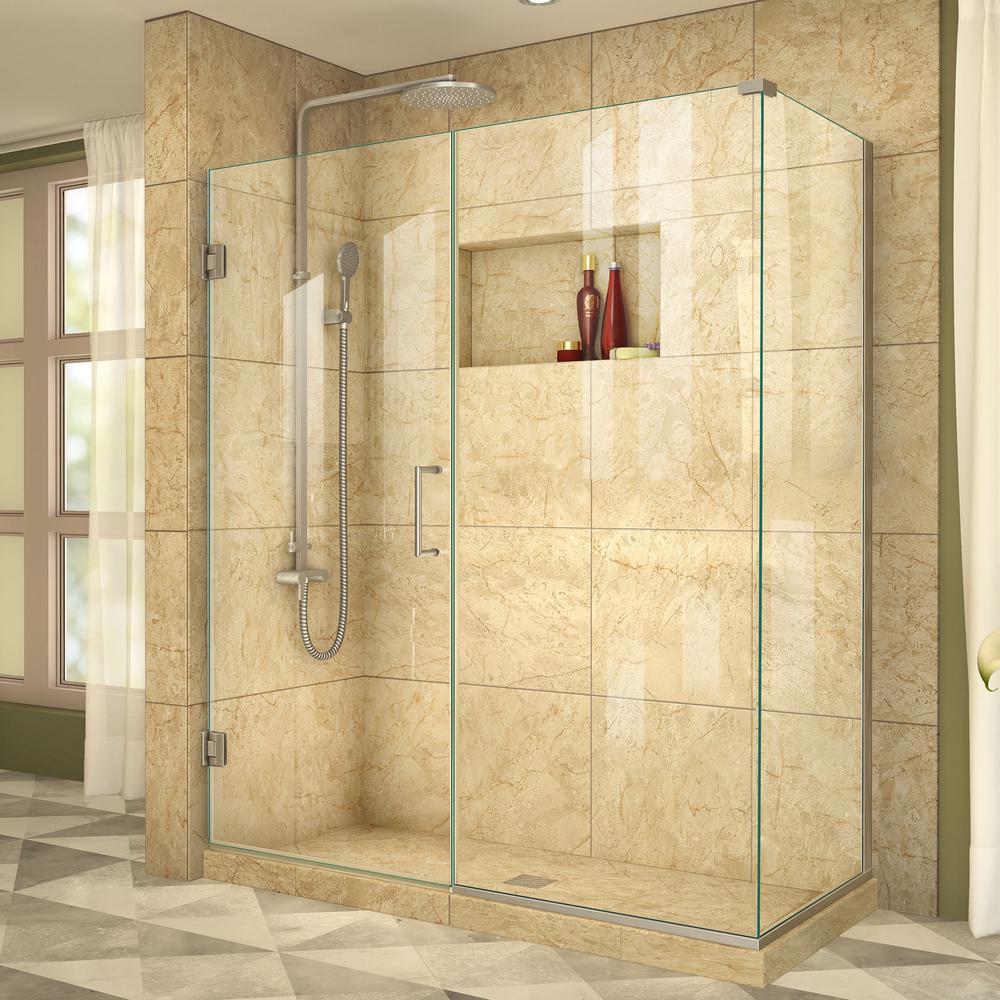 DreamLine Unidoor Plus 34-3/8 in. x 53 in. x 72 in. Frameless Hinged Corner Shower Enclosure in Brushed Nickel