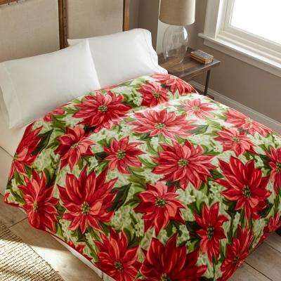 90 in. x 90 in. High Pile Poinsettia Raschel Knit Coverlet
