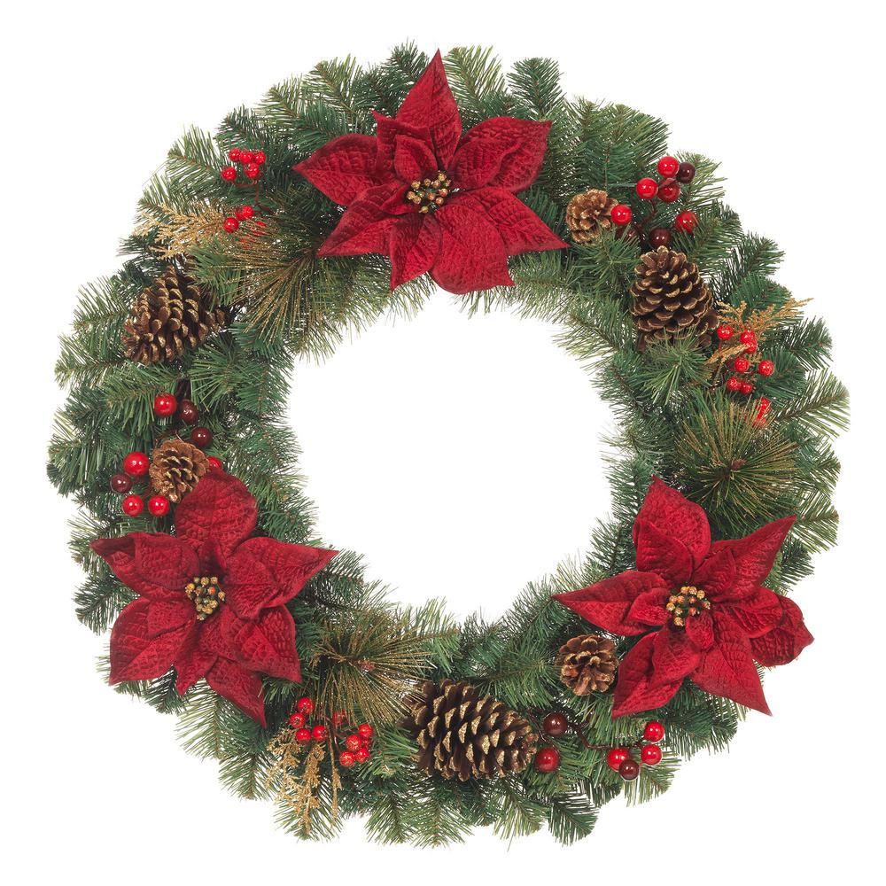 Unlit Artificial Christmas Mixed Pine Wreath with Burgundy Poinsettias