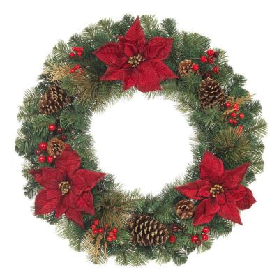 30 in. Unlit Burgundy Poinsettia Artificial Christmas Mixed Pine Wreath
