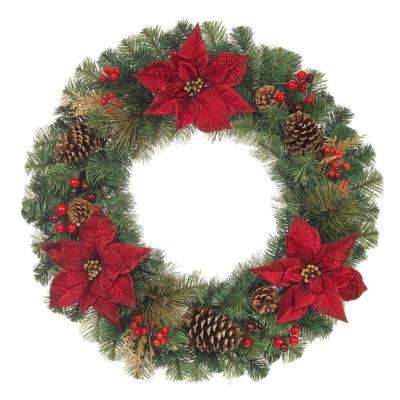 30 in. Unlit Artificial Christmas Mixed Pine Wreath with Burgundy Poinsettias