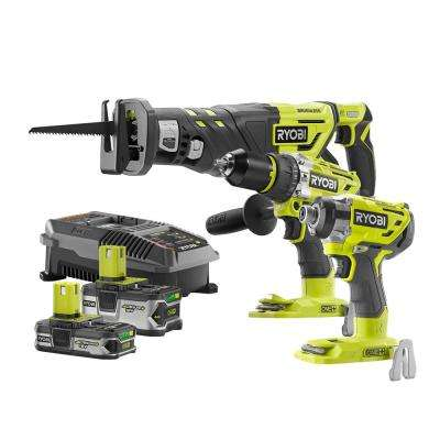 18-Volt ONE+ Cordless Lithium-Ion Brushless 3-Tool Combo Kit w/Reciprocating Saw w/(1) 4.0Ah and (1) 1.5Ah Batteries