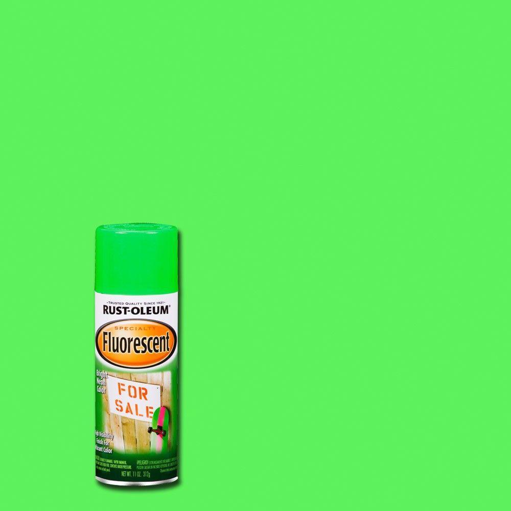 Rust Oleum Specialty 11 Oz Green Fluorescent Spray Paint 1932830 The Home Depot