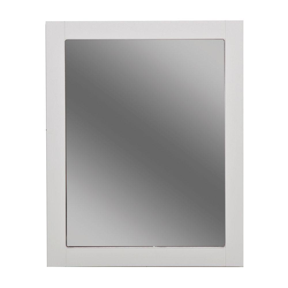 Del Mar 24 in. W x 30 in. H Framed Bathroom Vanity Mirror in White