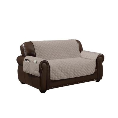 Wallace Water Resistant Taupe Fit Polyester Fit Loveseat Slip Cover