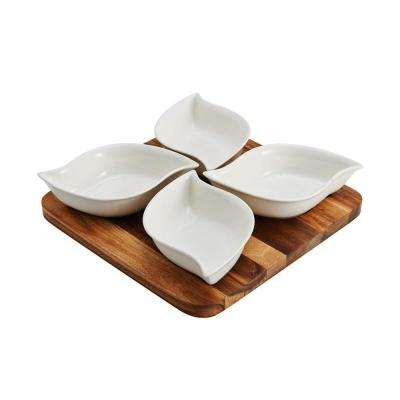 10 in. 5-Piece Acacia Wood Board with Ceramic Cups