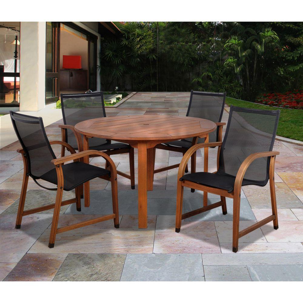 Amazonia Bahamas Eucalyptus Wood 5-Piece Round Patio Dining Set ...