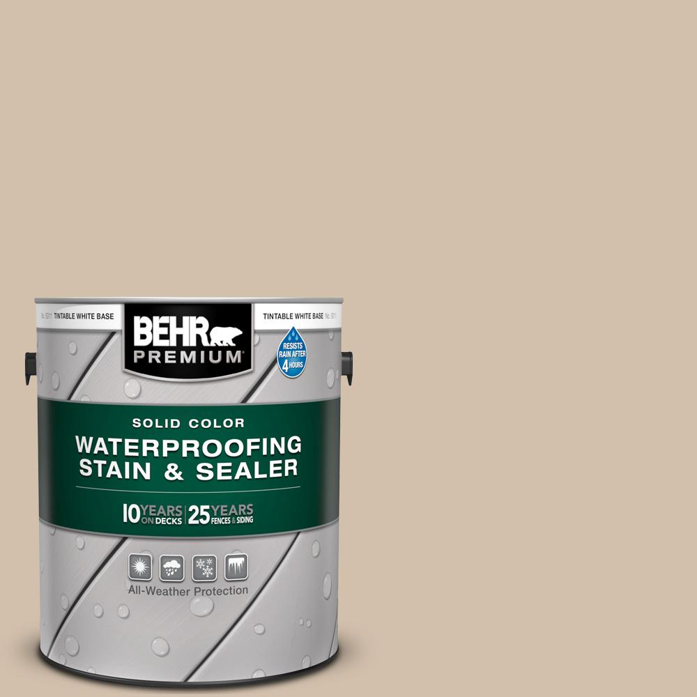 BEHR Premium 1 gal. #PPF-32 Light Rattan Solid Color Waterproofing Exterior Wood Stain and Sealer